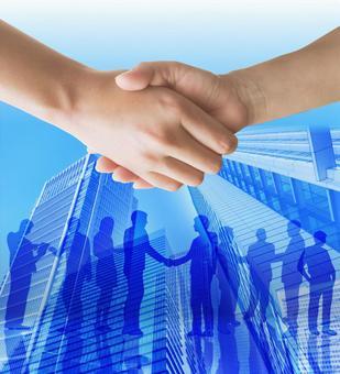 合同形成 - 握手 - 藍色