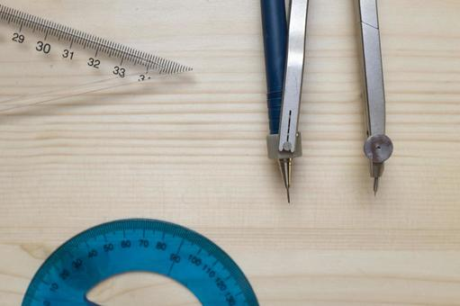 Compass, protractor and triangular ruler