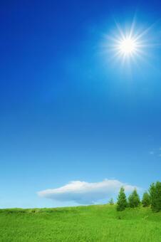太陽,草原,藍天和白雲垂直組成