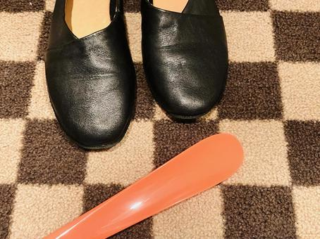 Black shoes and shoehorn