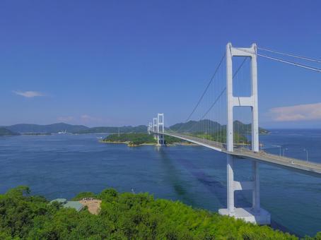 [Ehime Prefecture] Kurushima Kaikyo Bridge seen from Itoyama Park