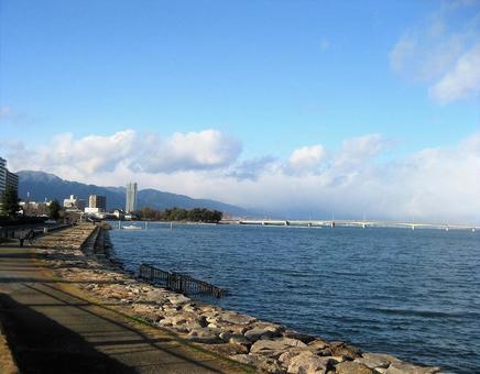 View Oumi Bridge from Omi Hakkei Awazu Harumi