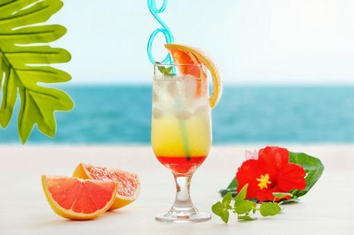在海濱的熱帶果汁