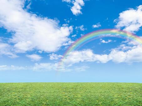 Blue sky, rainbow and meadow_2