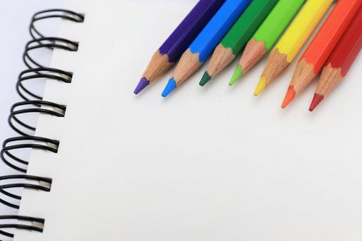7 colors pencil and notebook rainbow