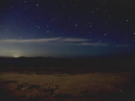 Starry sky and dawn taken with long exposure