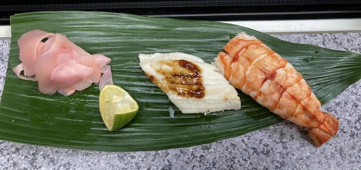 Shrimp and steamed conger eel