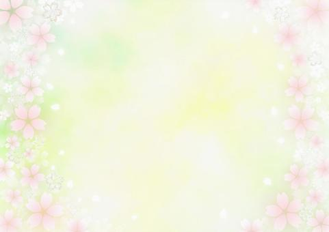 Lame cherry blossoms and fluffy cherry blossoms Watercolor-style frame material (yellow x yellow-green)