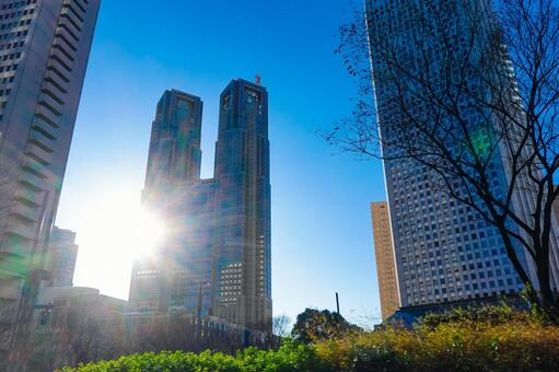 Nishi-Shinjuku skyscraper district, the Tokyo Metropolitan Government Building that shines in the blue sky