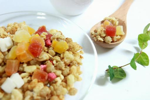 Granola dried fruits health food diet