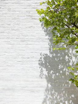 White brick background and fresh green trees-vertical