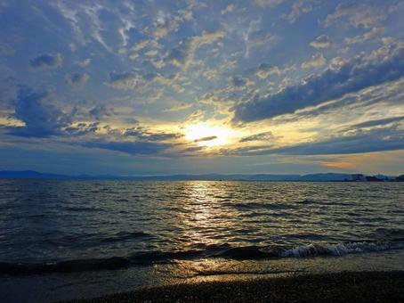 Lake at sunset (Lake Biwa)
