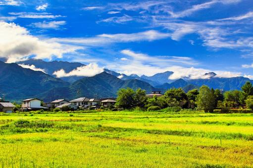 Scenery in Nagano with Japanese Alps