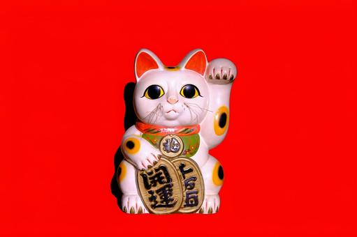 Red background material of beckoning cat (with shadow)