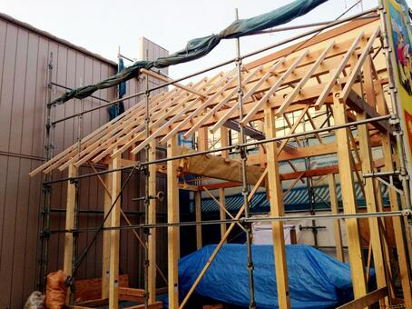 Wooden house construction site 8
