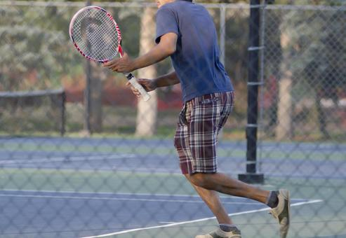 Landscape playing tennis