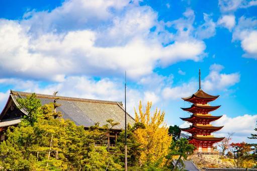 Miyajima Senjokaku and Five-storied Pagoda in the autumn sky