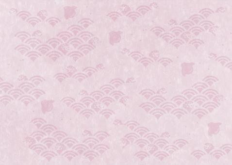 Houndstooth pattern between waves _ Japanese paper _ Azuki