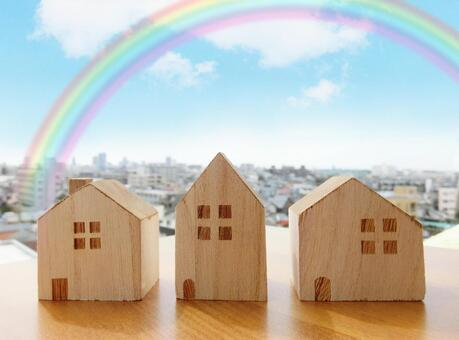 Building blocks, cityscape and rainbow