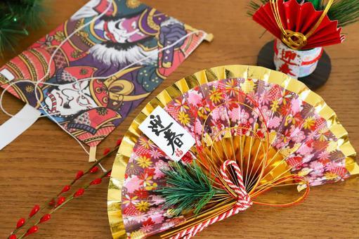 New Year image Folding fan