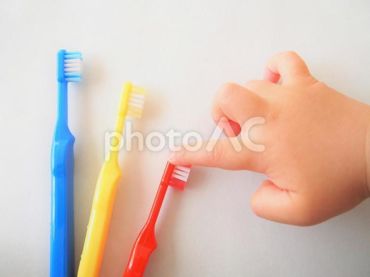 歯ブラシを選ぶ子供の手の写真