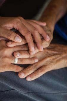 Elderly hands and supporting hands 14