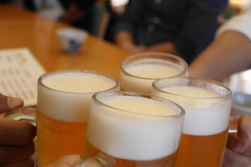 A toast with draft beer