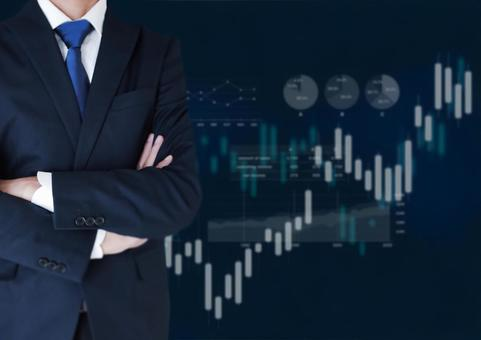 Image of stock price with a businessman who crosses his arms