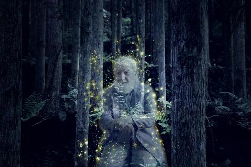 A grandfather's ghost emitting light in the forest