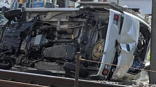 A car that collided with a train