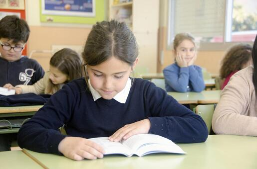 A girl studying in the classroom 1