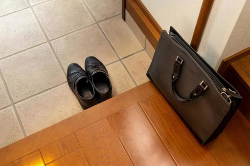 Business shoes and handbags placed at the entrance
