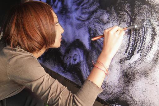 Woman drawing
