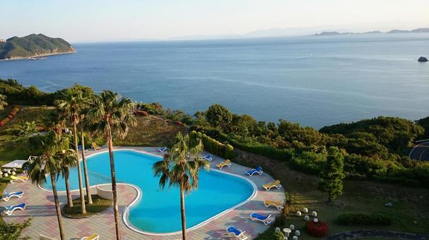 Resort hotel pool and Seto Inland Sea
