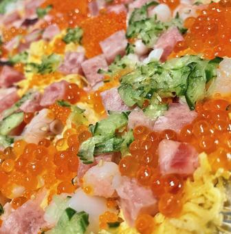 초밥 아무리 뛰어 참치 달걀 지단 축하 음식 일식