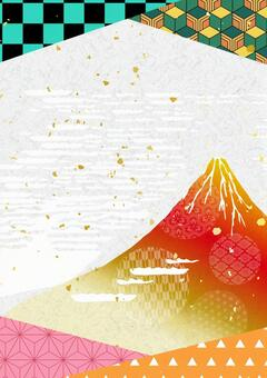 Mt. Fuji and New Year's card Japanese pattern Japanese paper texture background material vertical