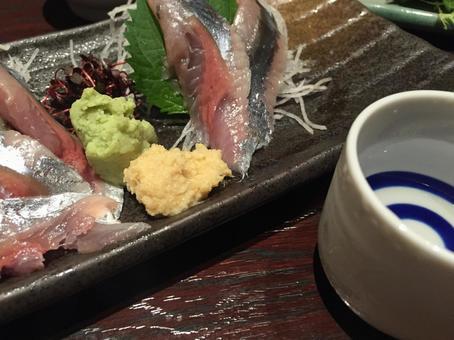 Pacific saury sashimi