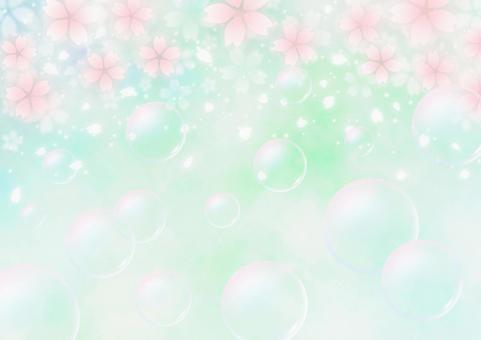 벚꽃과 비눗 방울 환상적인 봄 배경 소재 (녹색)