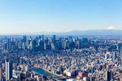 Scenery from Tokyo Metropolitan area high altitude