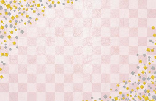 Japanese paper gilt silver foil checker pattern - Sakura pink