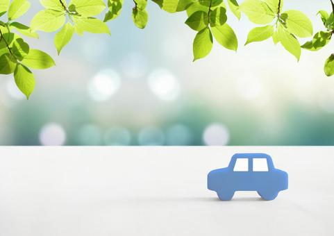 Image of car model and leaves