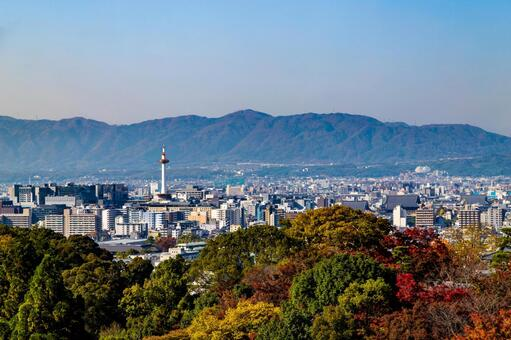 View of Kyoto city from Kiyomizu-dera Temple in autumn colors
