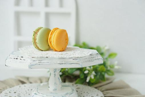 Fashionable macaroons by the window