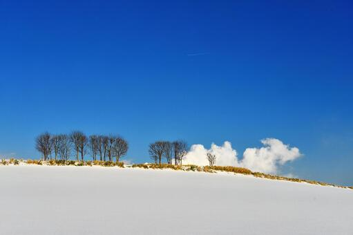 Snow Hill and Blue Sky