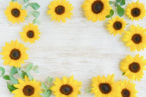 Sunflower and eucalyptus white wood frame