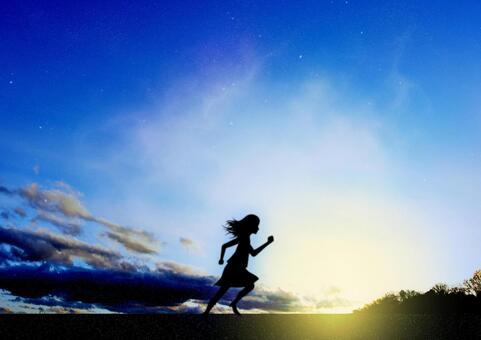 새벽 달리는 여성의 이미지