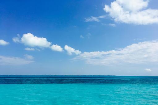 The clear, beautiful blue sea of the Caribbean Sea