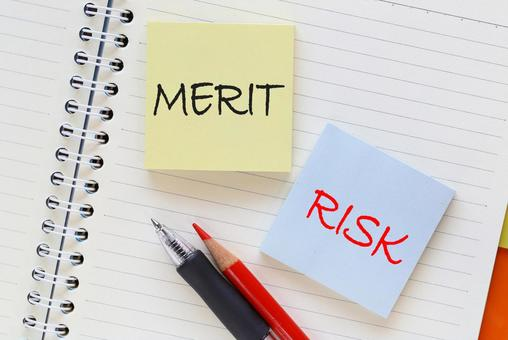 MERIT or RISK study image material notebook