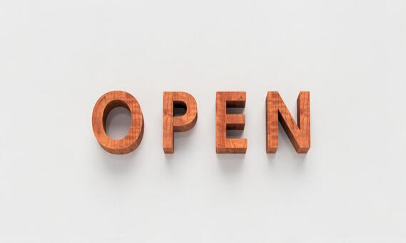 Typography OPEN Wood grain white background