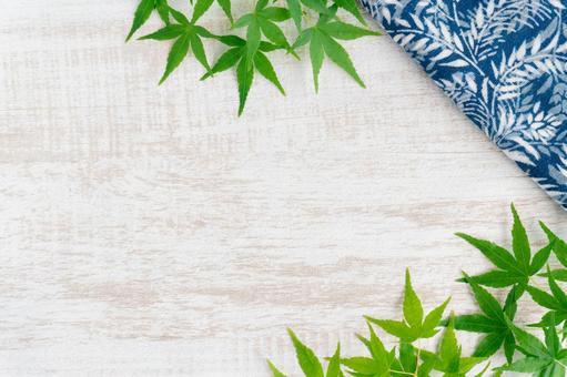 White wood grain background of blue maple and indigo dyed cloth